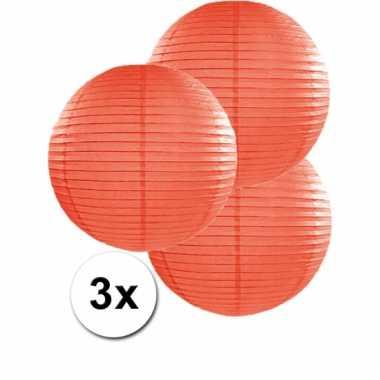 Oranje lampionnen 35 cm 3 stuks