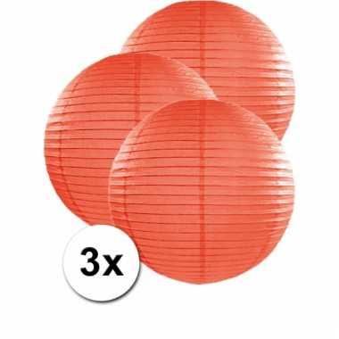 Oranje lampionnen 50 cm 3 stuks
