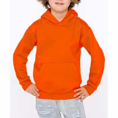 Oranje meisjes truien/sweaters met hoodie/capuchon