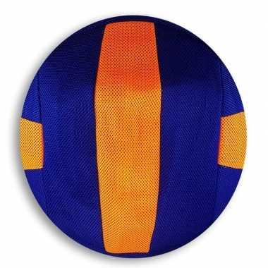 Oranje met blauwe gestreepte mesh speelgoed bal voor kinderen 23 cm