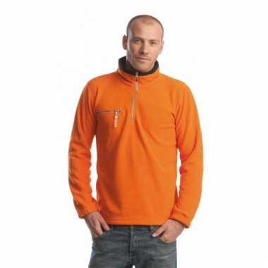 Oranje met zwarte fleece trui met ritskraag voor volwassenen