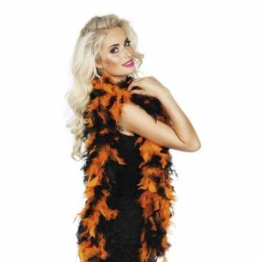 Oranje met zwarte veren boa 180 cm