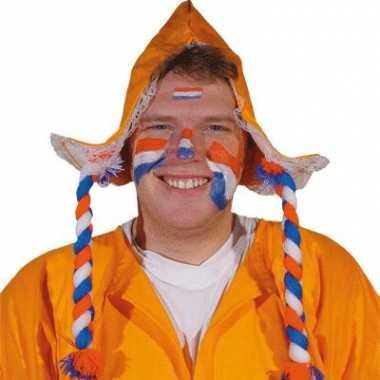 Oranje muts boerin net vlechten