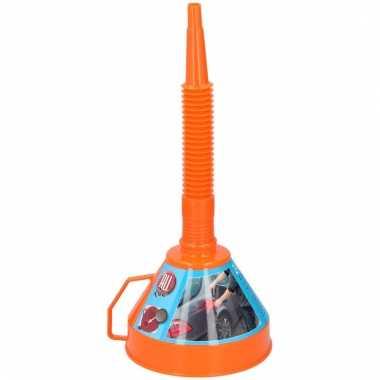 Oranje olietrechter van plastic