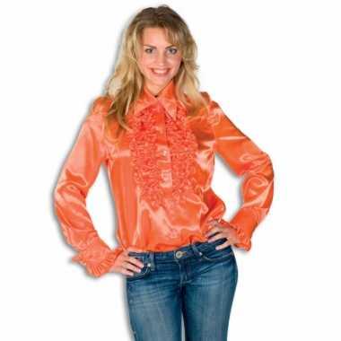 Oranje overhemd met rouches