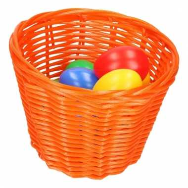 Oranje paaseieren mandje met gekleurde eieren 14 cm