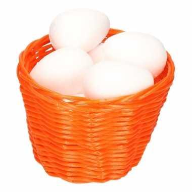 Oranje paasmandje met piepschuim eieren 14cm