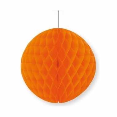 Oranje papieren kerstbal 10 cm