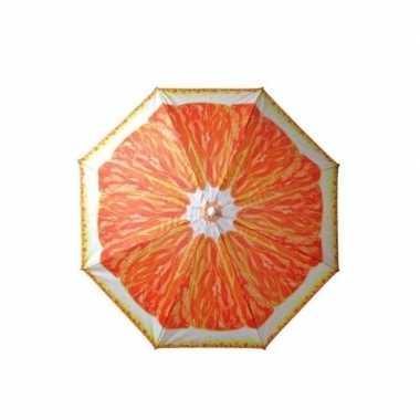 Oranje parasol met sinasappel print 180 cm