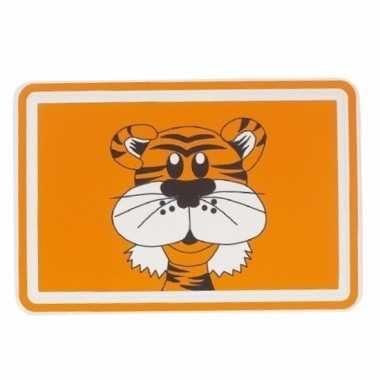 Oranje placemat met tijger 44 cm