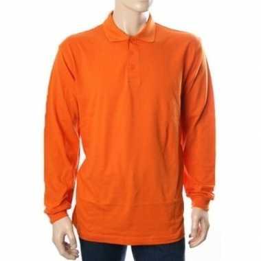 Oranje polo shirt lange mouwen