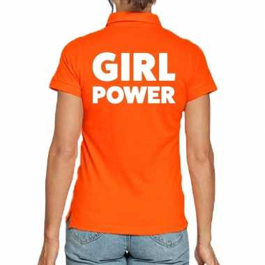 Oranje polo t-shirt girl power voor dames