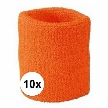 Oranje polsbandjes 10 stuks