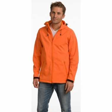 Oranje polyester herenjas met capuchon