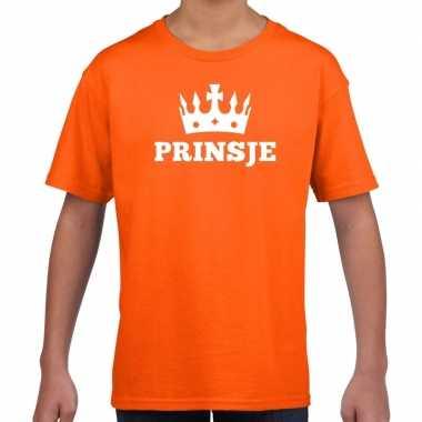 Oranje prinsje met kroon t-shirt jongens