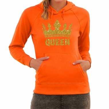 Oranje queen gouden glitter kroon hoodie dames