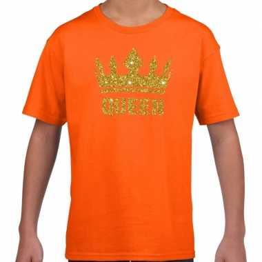 Oranje queen gouden glitter kroon t-shirt kinderen