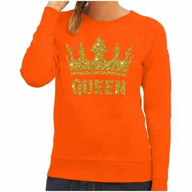 Oranje queen gouden glitter kroon trui dames