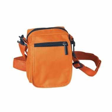 Oranje schoudertasjes 15 cm