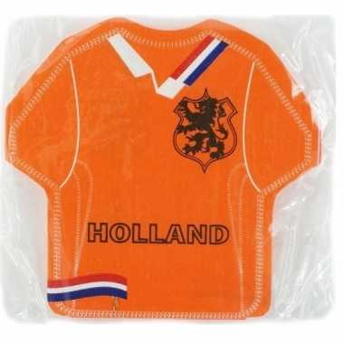 Oranje servetten in voetbal shirt vorm