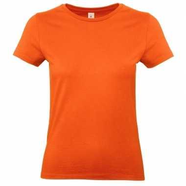 Oranje shirt met ronde hals voor dames