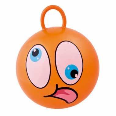 Oranje skippybal met grappig gezicht 45cm