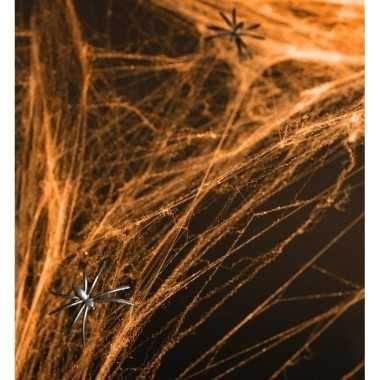 Oranje spinnenwebben halloween decoratie/versiering 100 x 200 cm