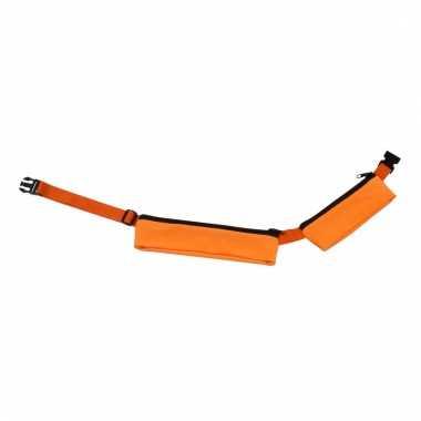 Oranje sport heuptasje 2 vakken 80-107 cm voor volwassenen