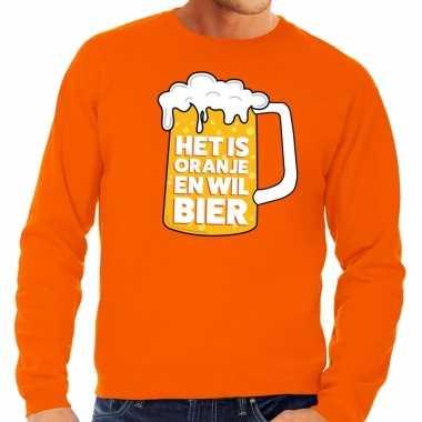 Oranje sweater met tekst het is oranje en wil bier heren
