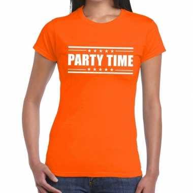 Oranje t-shirt dames met tekst party chick