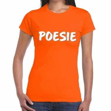 Oranje t-shirt poesie voor dames