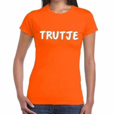 Oranje t-shirt trutje voor dames