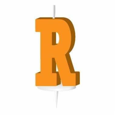 Oranje taart kaarsje letter r