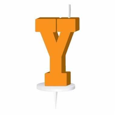 Oranje taart kaarsje letter y