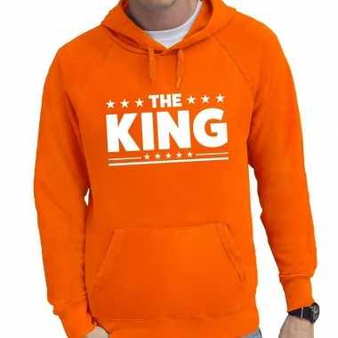 Oranje the king tekst hooded sweater voor heren