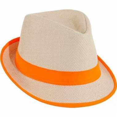 Oranje trilby hoed
