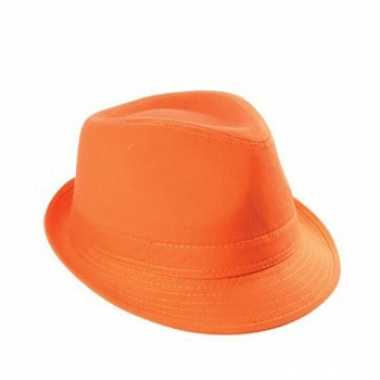 Oranje trilby hoedje van katoen