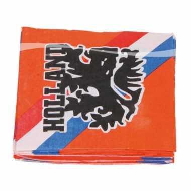 Oranje voetbal servetten 33 cm