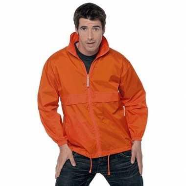 Oranje wind/regenjas voor volwassenen