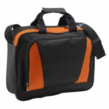 Oranje/zwarte documenten tas