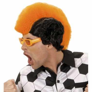 Oranje/zwarte pruik met hanenkam