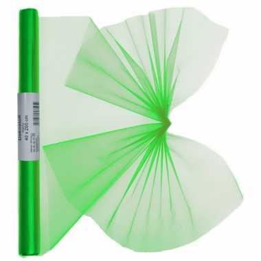 Organza tule stof groen 40 x 200 cm