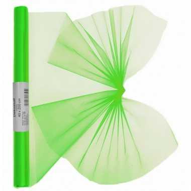 Organza tule stof neon groen 40 x 200 cm