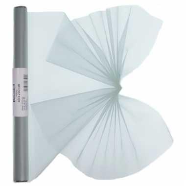 Organza tule stof zilver 40 x 200 cm