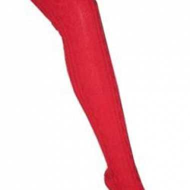 Overknee kousen rood voor dames