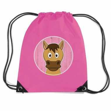 Paard dieren trekkoord rugzak / gymtas roze voor kinderen