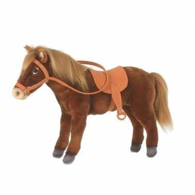 Paarden knuffeldier bruin met zadel 37 cm