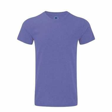 Paars basic shirt met ronde hals voor heren