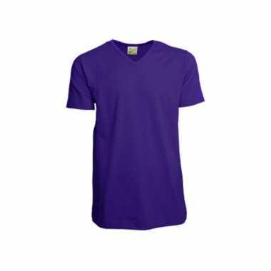 Paars gekleurd v-hals shirt voor heren