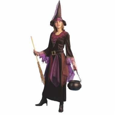 Paars heksen kostuum inclusief hoed